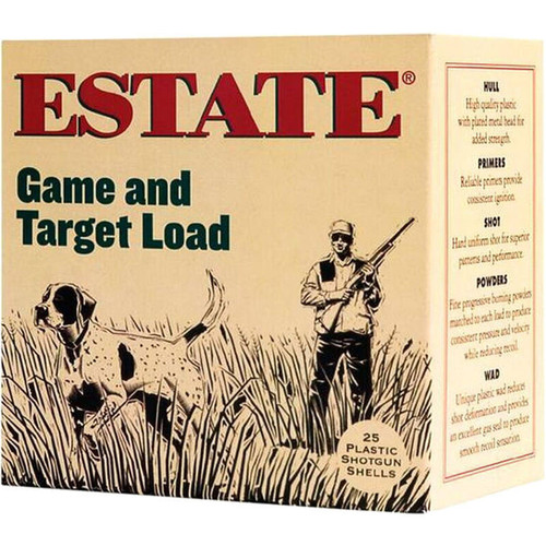 "Estate Cartridge GAme and Target Load 12 GA 2-3/4"" Shell #8 Lead Shot 1oz 25 Rounds"