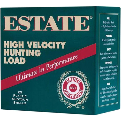 "Estate Cartridge High Velocity Hunting Load 12 GA 2-3/4"" Shell #4 Lead Shot 1-1/4oz 25 Rounds"
