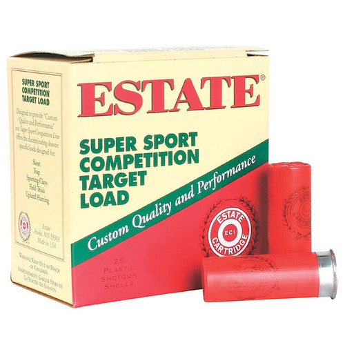 "Estate Cartridge Super Sport Competition Target Load 12 GA 2-3/4"" Shell #7.5 Lead Shot 1-1/8oz 25 Rounds"