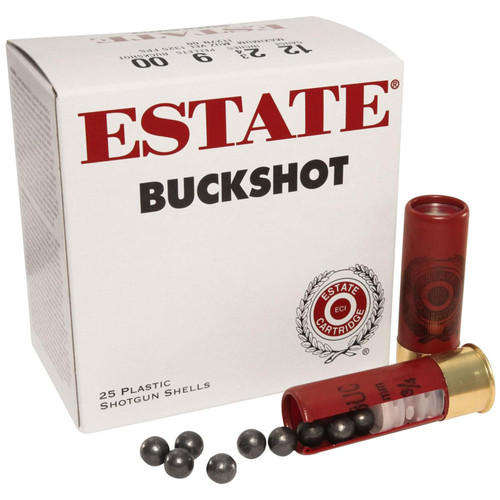 "Estate Cartridge 12 GA 2-3/4"" 00 Buckshot 9 Pellets 25 Rounds"