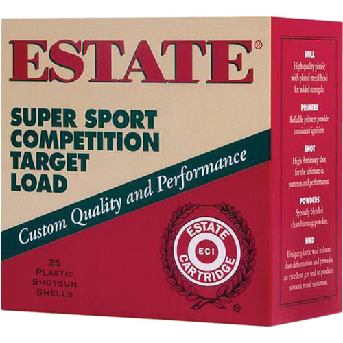 "Estate Cartridge Super Sport Competition Target Load 20 GA 2-3/4"" Shell #8 Lead Shot 7/8oz 25 Rounds"