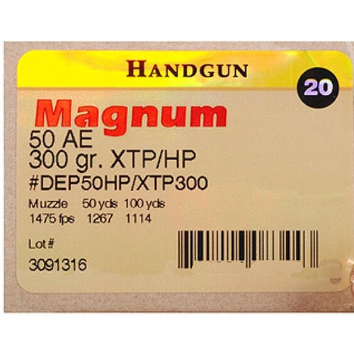 Magnum Research 50 Action Express 300GR Hornady XTP Jacketed HP 20 Rounds