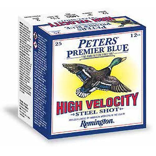 "Remington Peters Premier Blue High Velocity Steel Shotshells 12 GA 3"" 1-1/4oz #2 Shot 25 Rounds"