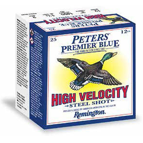 "Remington Peters Premier Blue High Velocity Steel Shotshells 12 GA 3"" 1-1/4oz #3 Shot 25 Rounds"