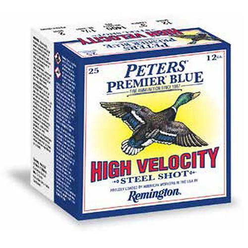 "Remington Peters Premier Blue High Velocity Steel Shotshells 12 GA 3"" 1-1/4oz #4 Shot 25 Rounds"