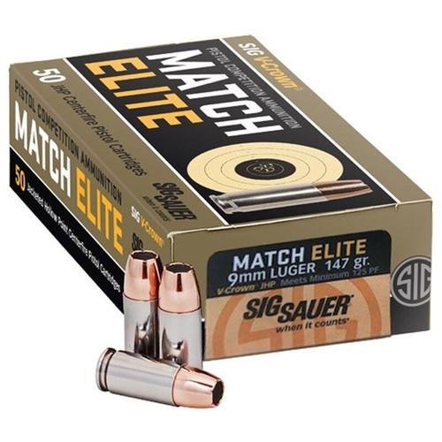 SIG Sauer Match Elite Competition 9mm Luger Ammunition 50 Rounds 147GR JHP 900 fps