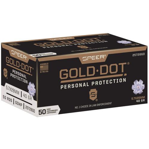 Speer Gold Dot 5.7x28mm FN 40GR Gold Dot Bonded Soft Point Box of 50