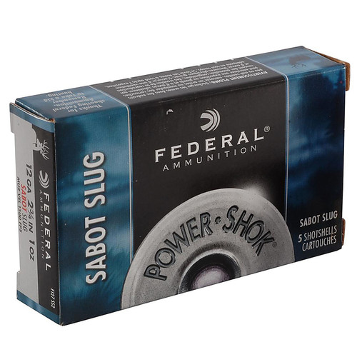 "Federal Power-Shok Ammunition 12 GA 2-3/4"" 1 oz Sabot Slug Box of 5"