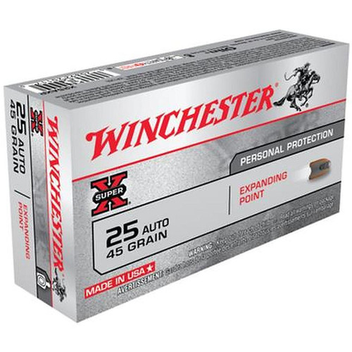 Winchester Super X 25 ACP Expanding Point 45gr, 50 Rounds