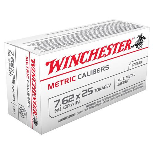 Winchester USA 7.62x25mm Tokarev 85GR FMJ 50 Rounds