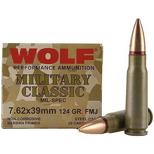 Wolf Military Classic 7.62x39mm 124GR Bi-Metal FMJ Steel Cased 2330 fps 20 Rounds