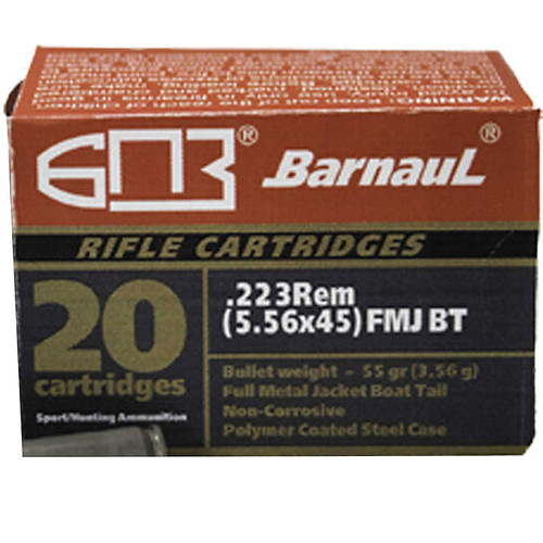 Barnaul .223 Remington 55GR Bi-Metal Jacket FMJ with Polycoated Steel Case 20 Rounds
