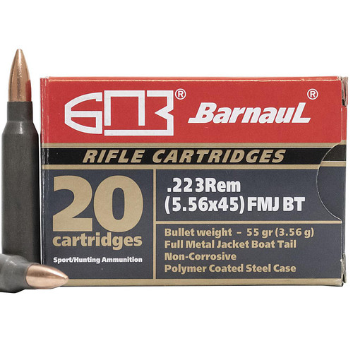 Barnaul Polycoated Steel Case .223 Remington 62GR FMJBT 20 Rounds
