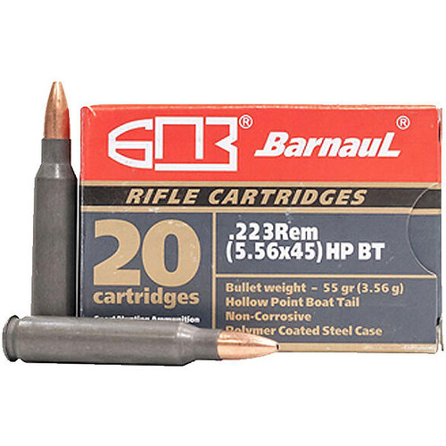 Barnaul .223 Remington 55GR HP Boat Tail Polycoated Steel Case Cartridges 20 Rounds