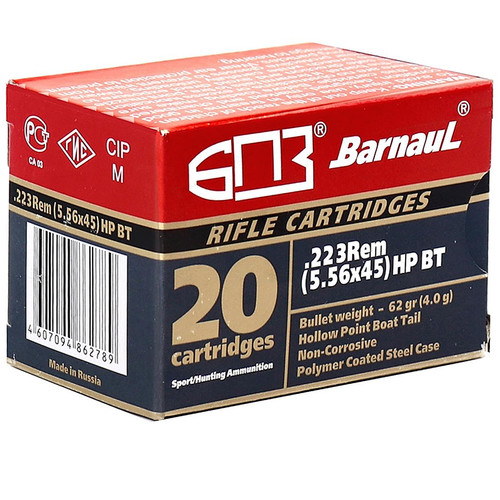 Barnaul .223 Remington 62GR HP BT Polycoated Steel Case 20 Rounds