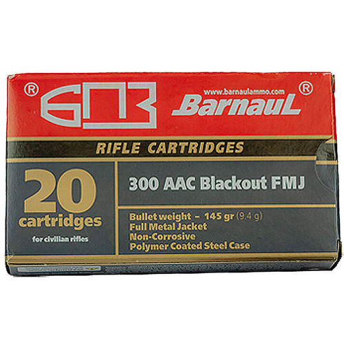 Barnaul .300 AAC Blackout 145 FMJ Polycoated Steel Case Cartridges 20 Rounds