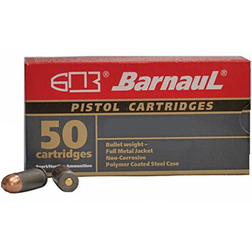 Barnaul Pistol Cartridges .380 ACP 94GR FMJ Polycoated Steel Cased Cartridges 50 Rounds