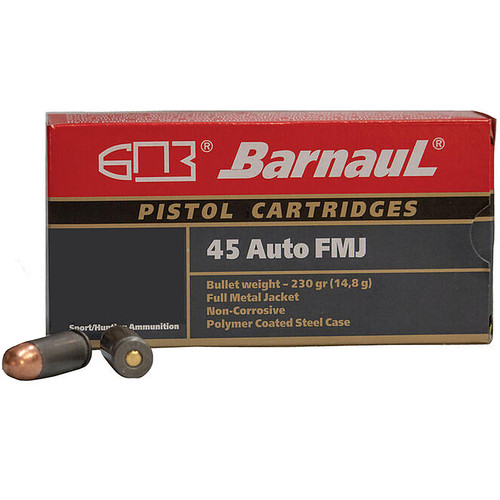 Barnaul .45 ACP 230GR FMJ Projectile Steel Cased Cartridges 50 Rounds