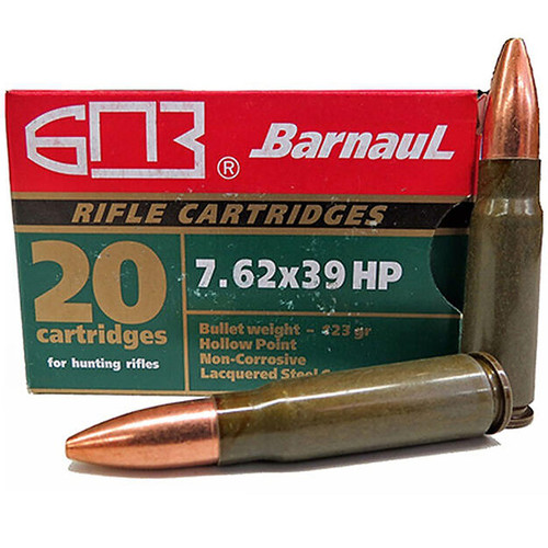 Barnaul 7.62x39 Soviet 123 GR HP Lacquered Steel Cased Cartridges 20 Rounds