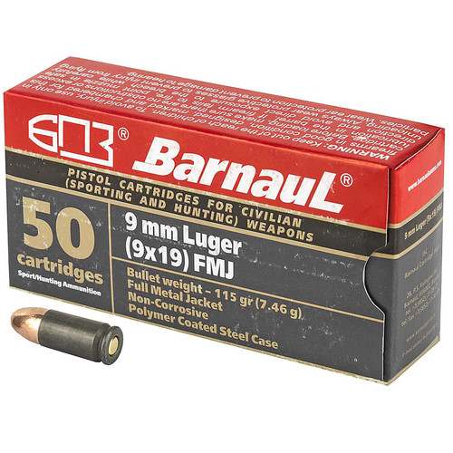 Barnaul 9MM Luger 115GR FMJ Steel Polycoated Case 50 Rounds