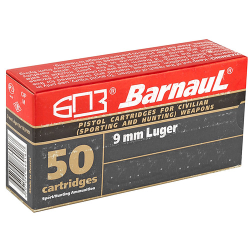 Barnaul HP145 9MM Luger 145GR HP Steel Polycoated Case 50 Rounds