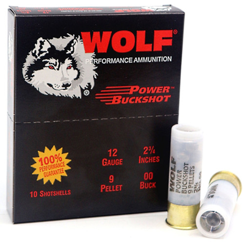 "Wolf Power Buckshot 12 Gauge 2 3/4"" 00 Buckshot 9 Pellets 10 Rounds"