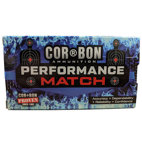 Cor-Bon Performance Match Ammunition 9mm 124GR FMJ 50 Rounds