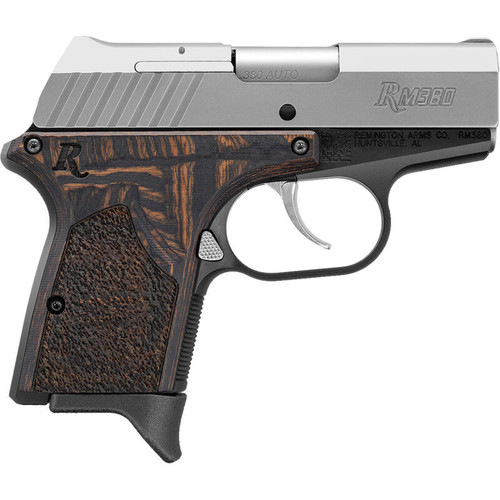 "Remington RM380 Executive .380 ACP Semi Auto Pistol 2.9"" Barrel 6 Rounds Wood Laminate Grip Panels Black Frame with Stainless Slide"