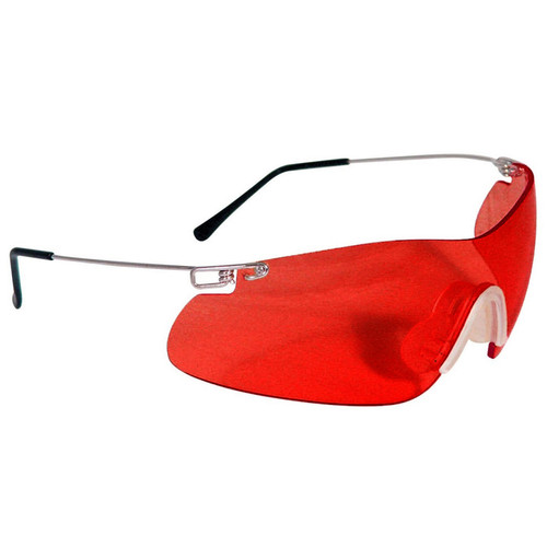 Radians Clay Pro Shooting Glasses - Silver Temples - Vermillion Lens