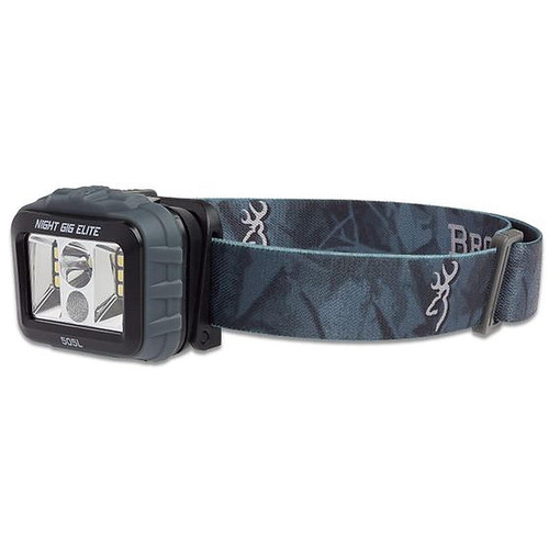 Browning Night Gig Elite LED Headlamp Black Polymer Body with Camo Strap