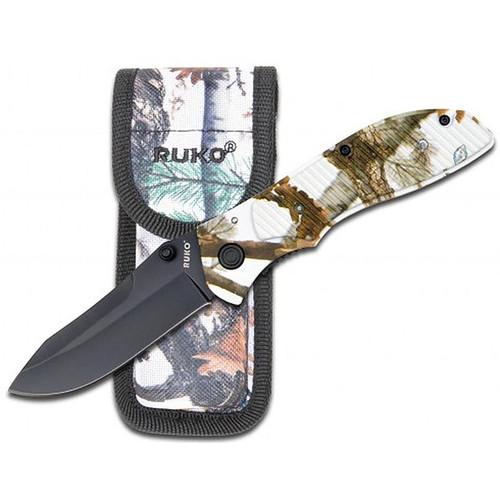 Ruko Drop Point Folding Knife in the Woodlands TUNDRA Pattern, RUK0106TND