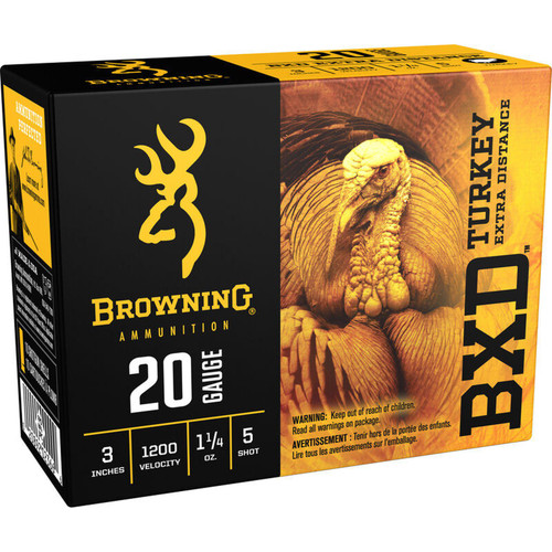 "Browning BXD Turkey 20 Gauge Ammo 3"" #5 Plated Lead 1-1/4 Ounce 10 Rounds"
