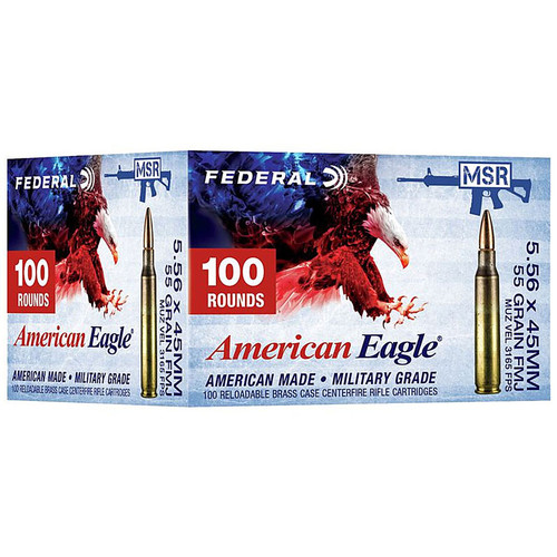 Federal American Eagle 5.56x45mm NATO 55GR FMJ Boat Tail 100 Rounds