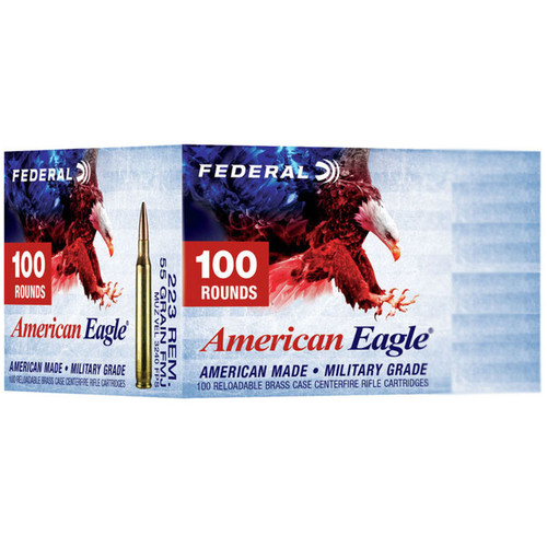 Federal American Eagle 223 Rem 55GR FMJ Boat Tail 100 Rounds