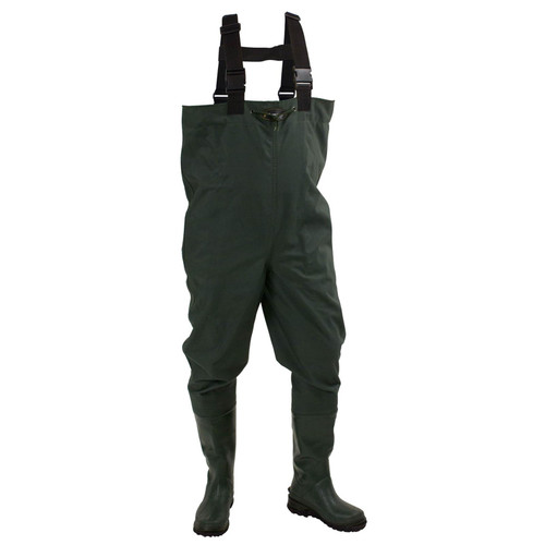 Frogg Toggs Cascades 2-ply Poly/Rubber Bootfoot Chest Wader Cleated Outsole