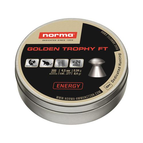 Norma Golden Trophy FT Air Gun Pellets 177 Caliber 8.4 Grain Round Nose Tin of 300