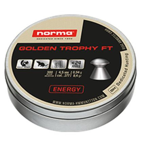 Norma Golden Trophy FT Air Gun Pellets 22 Caliber 15.9 Grain Round Nose Tin of 200