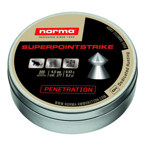 Norma Superpoint Strike Penetration Air Gun Pellets Caliber 4.5mm 8.2 Grain Tin of 300