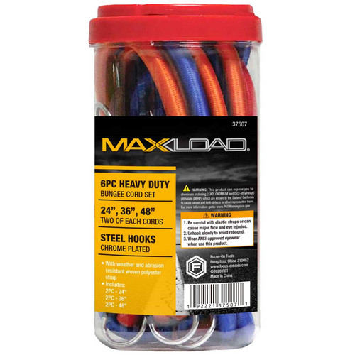 """Focus-On Tools (FOT) MaxLoad 6Pc 1/2"""" Duty Bungee Cord Set"""