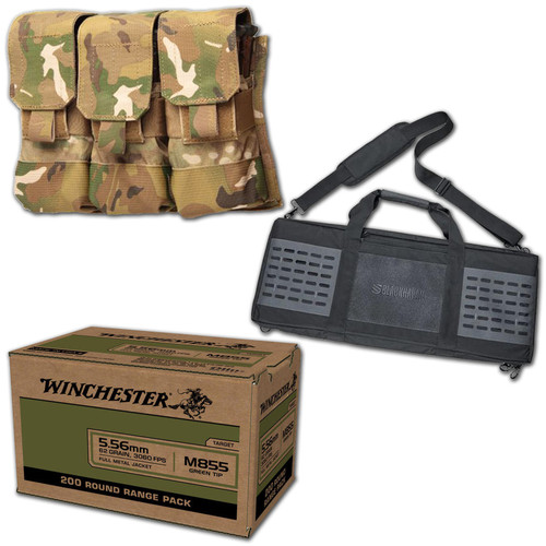 Winchester 5.56 200 Rnds with Blackhawk Triple Mag Pouch & Rifle Case