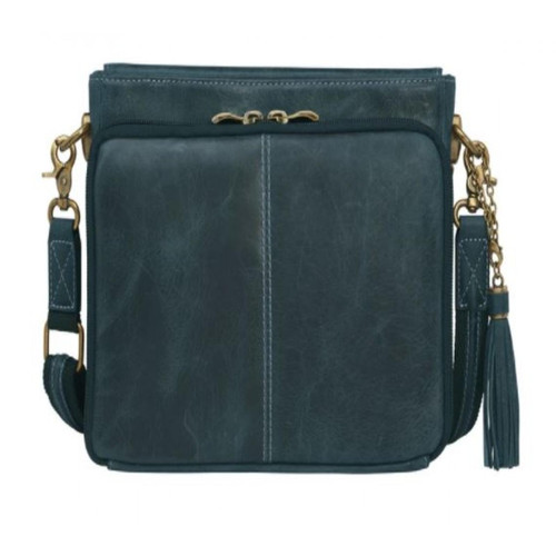 Gun Toten Mamas Distressed Water Buffalo Leather Cross Body Clutch - Indigo