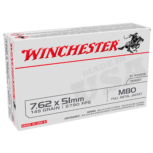 Winchester Lake City M80 .308/7.62x51mm NATO 149GR FMJ 20 Rounds