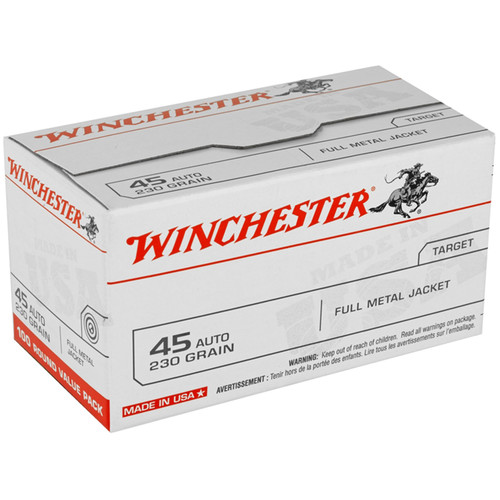 Winchester USA .45 ACP 230GR FMJ Value Pack 100 Rounds