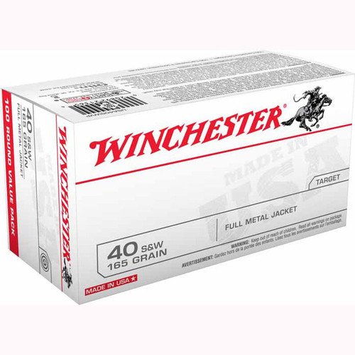 Winchester USA .40 S&W FMJ 165GR 100 Rounds