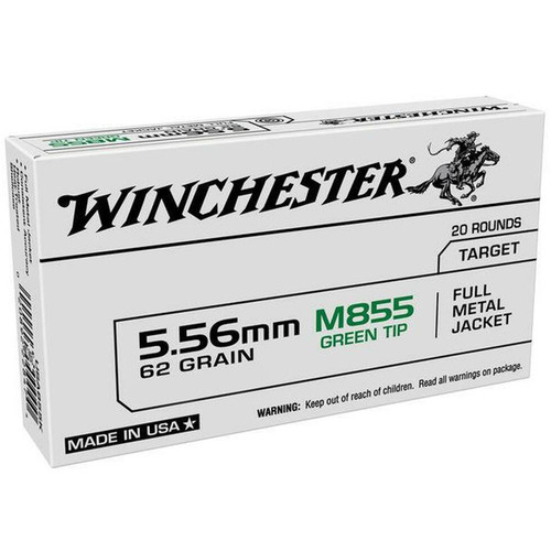 Winchester M855 5.56 62GR Green Tip Full Metal Jacket 20 Rounds
