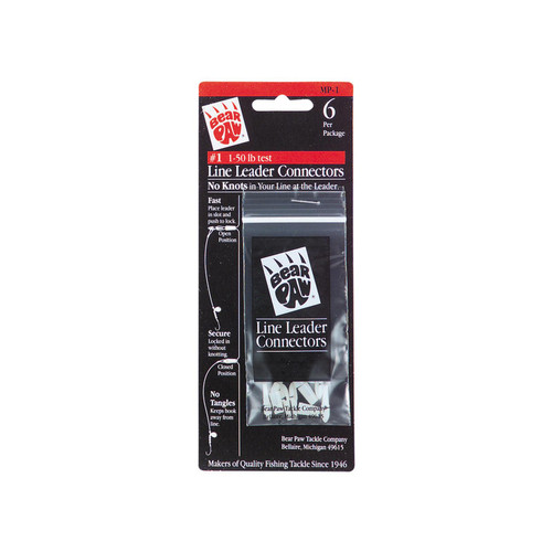 Bear Paw Leader Connectors 1-50-Pound Line, 6-Pack