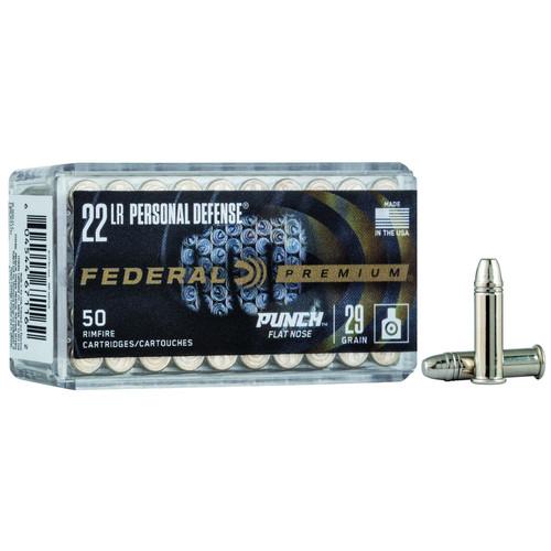 Federal PD22L1 Premium Personal Defense 22 LR 29GR Punch Flat Nose 50 Rounds