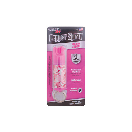 Sabre Self Defense Pepper Spray Pocket/Keychain .54 oz 8-10 ft Camo Pink