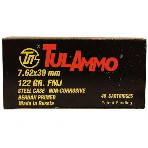 Tula 7.62X39mm FMJ Steel Cased Ammunition 122GR 40 Rounds