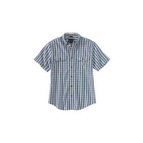 Carhartt  Men's Loose Fit Midweight Chambray Short-Sleeve Plaid Shirts